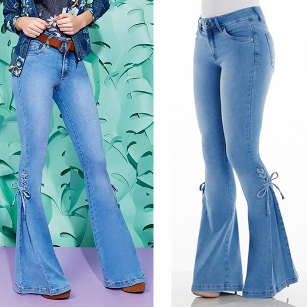 2020 Vintage Flare Midi Waist Jeans Woman Bell Bottom Denim Mom Jeans For Ladies Autumn And Winter Plus Size Blue Jean Pants