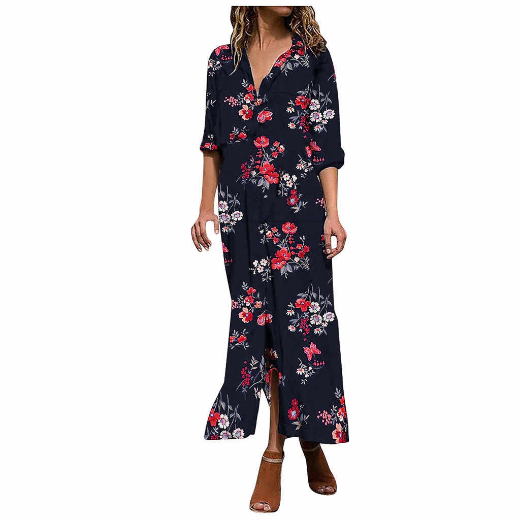 #35 ツイードドレス女性ドレスプラスサイズヨーロッパやアメリカの秋と冬の新プリント V ネック高ウエストドレス