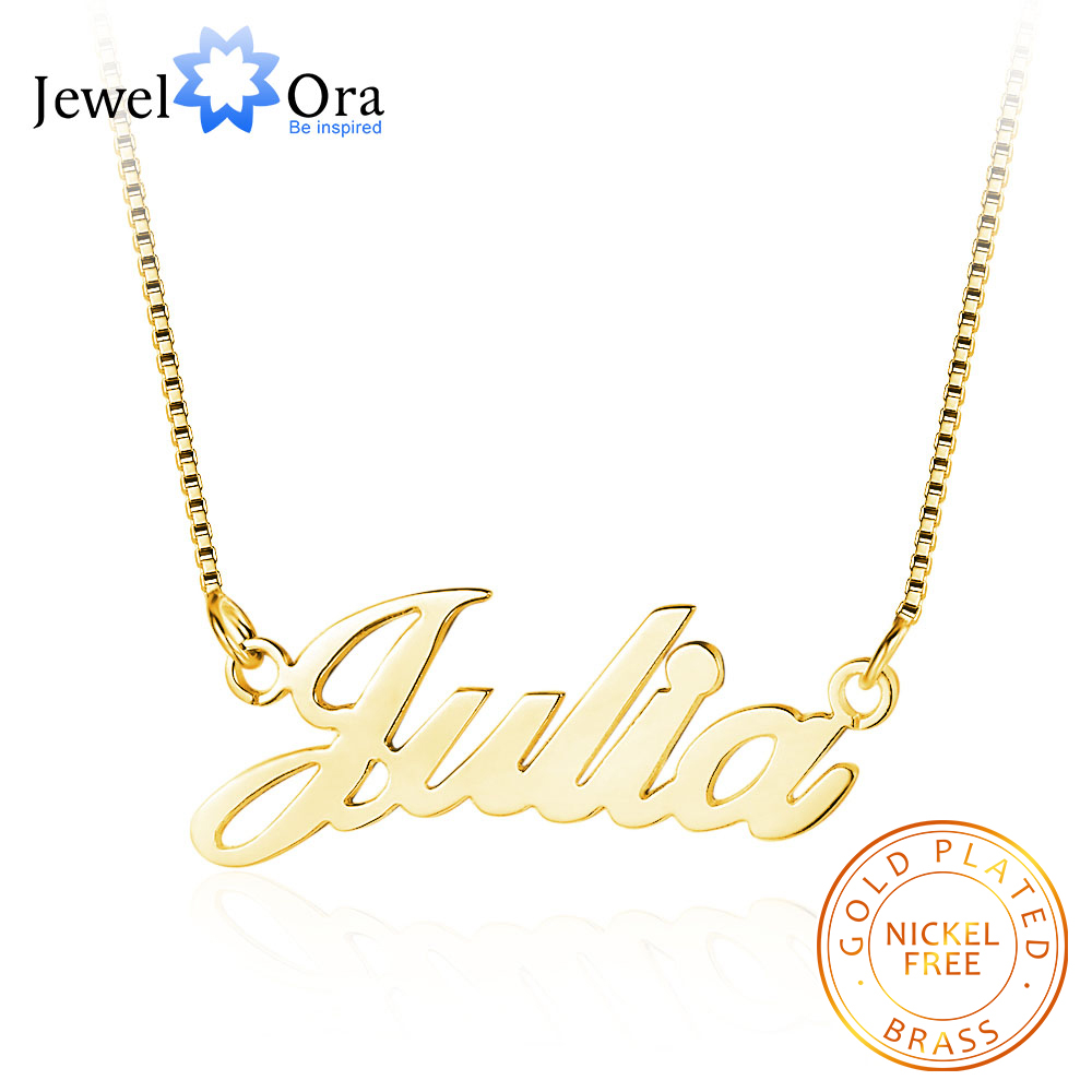 Personalized Nameplate Necklace 3 Colors Copper Name Necklaces for Women Customized Your Name Jewelry Best Friend Gift(NE102047) image