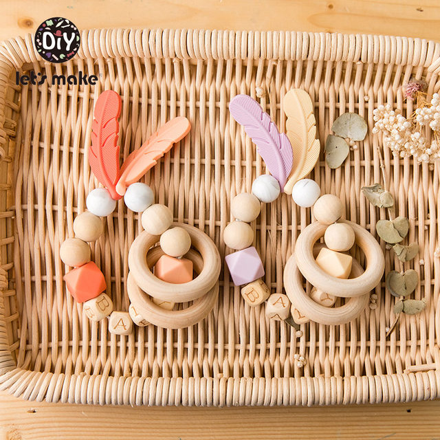 Baby Toys Nursing Feather Bracelet 1pc Wooden Teething Rings DIY Private Personalized Baby's Name Wood Rattles Let's Make