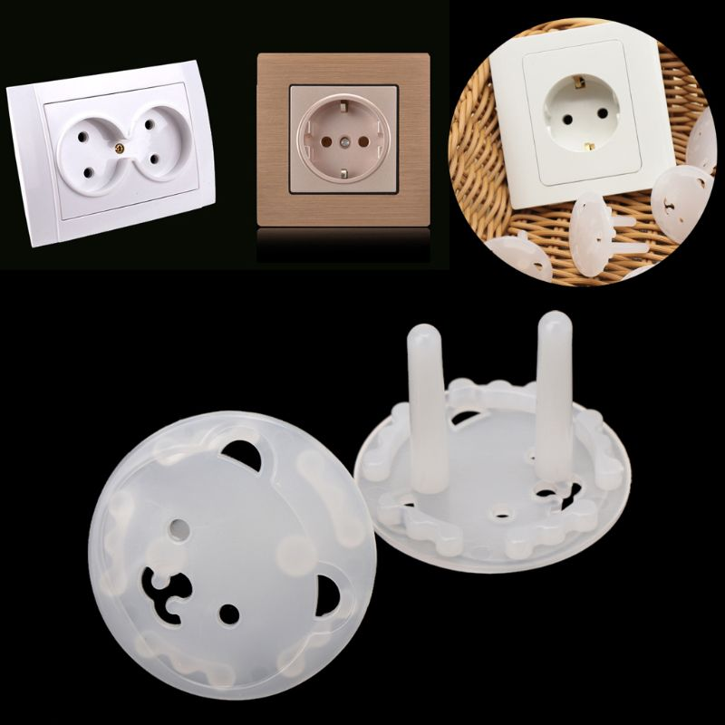 10pcs EU Stand Power Socket Cover 2 Hole Electrical Outlet Baby Child Safety Electric Shock Proof Plugs Protector