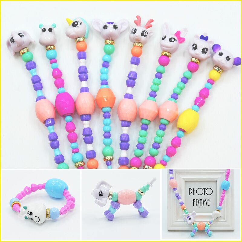Diy Cartoon Animals Beads Bracelets Girls Unicorn Toy Bangle Handmade Bracelet Deformation Toys For Children Kids Xmas Gift