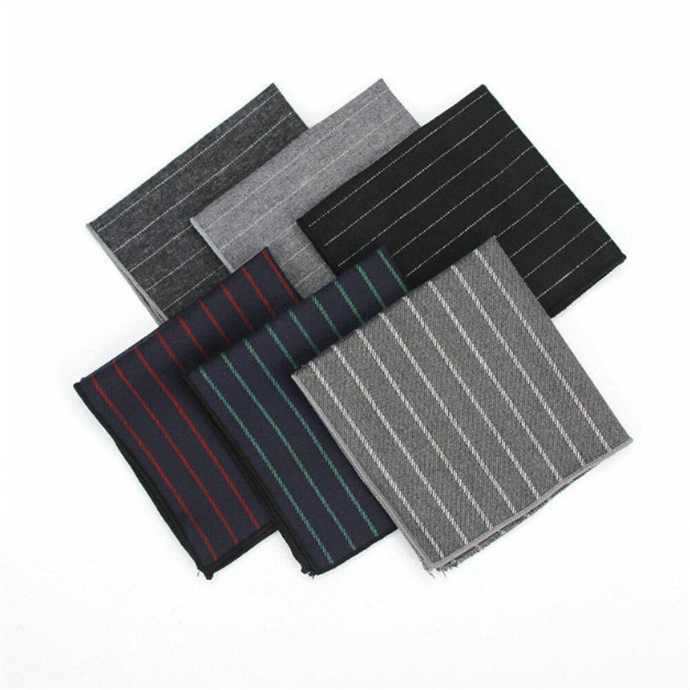 New Arrival Men's Hankerchief Scarves Casual Cotton Hankies Men's Suits Pocket Square Handkerchiefs Vertical Stripes