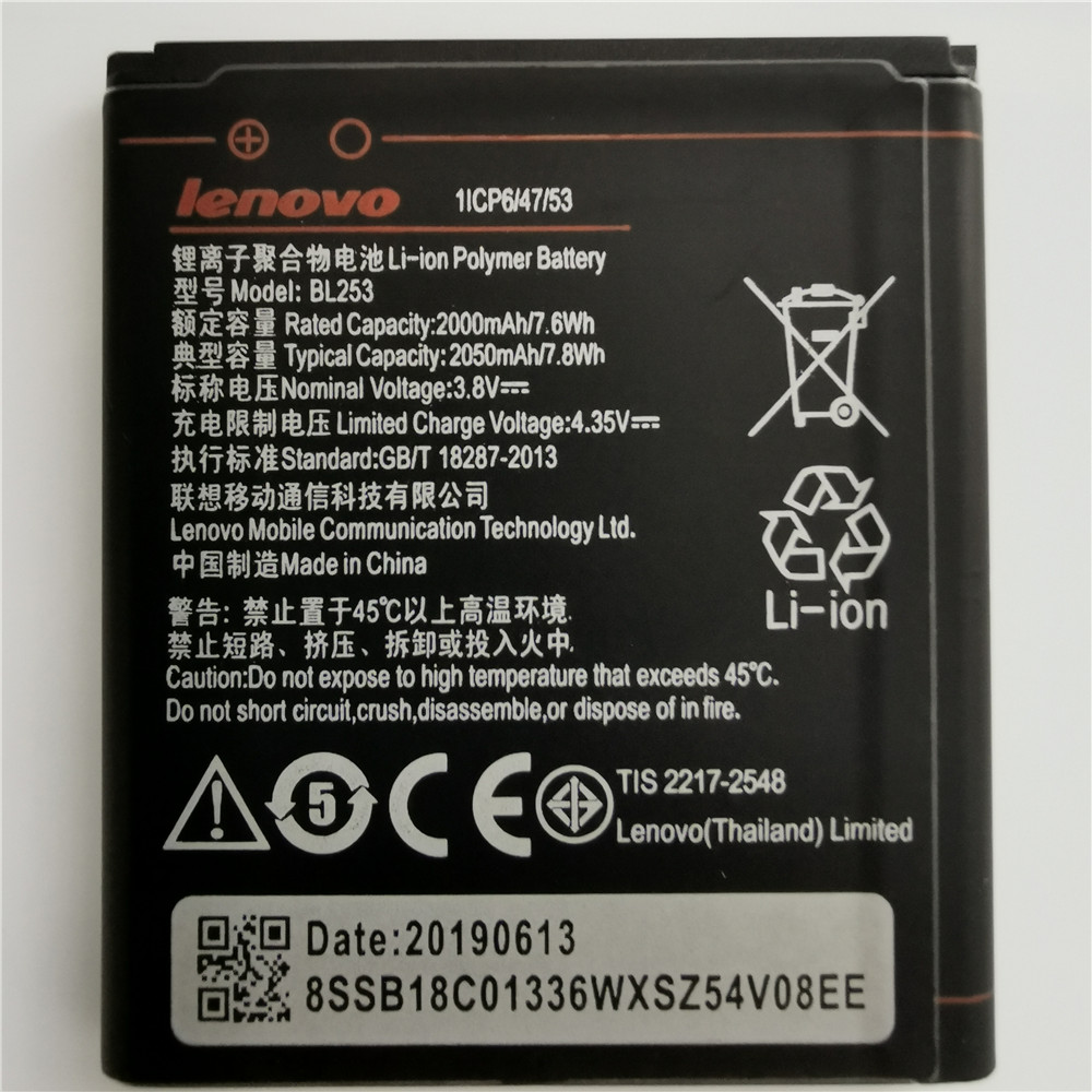 2019 New High Capacity 2050mAh BL253 Battery For Lenovo A2010 Bateria A 2010 / BL 253 BL-253 A1000 A1000m A 1000 Mobile Phone