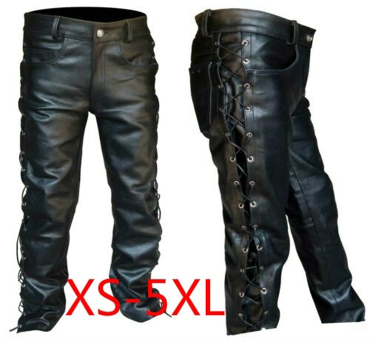 Men's Leather Pants Locomotive Punk Style Pants For Men Fashion Winter Mens Clothes Pantalon Homme Plus Size Mens Clothing