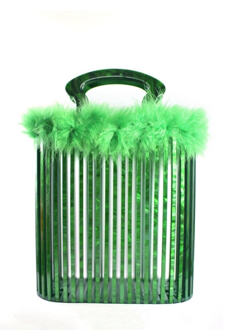 Vert perle acrylique Totes avec sac acrylique poignée panier soirée femme femmes épaule été plage dame acrylique embrayages sac à main