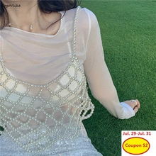 Handmade Beige Pearls Vest Women 2019 New Elegant Beading Vests Camis Hollow Out Outwear Chic Paghetti Strap Tops LT813S50 chic faux pearls feather tassel flower hollow out necklace for women