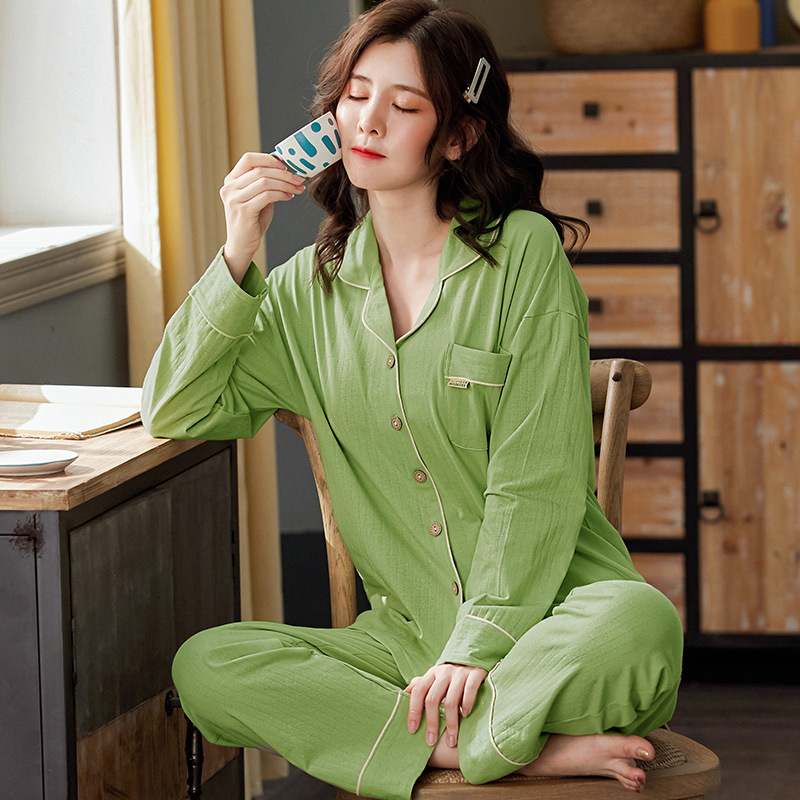 Sping Autumn Women's Sleepwear Pajamas Set Cotton Long Sleeved V-neck Pajamas Home Wear Leisure Clothes Solid Color Nightwear 1