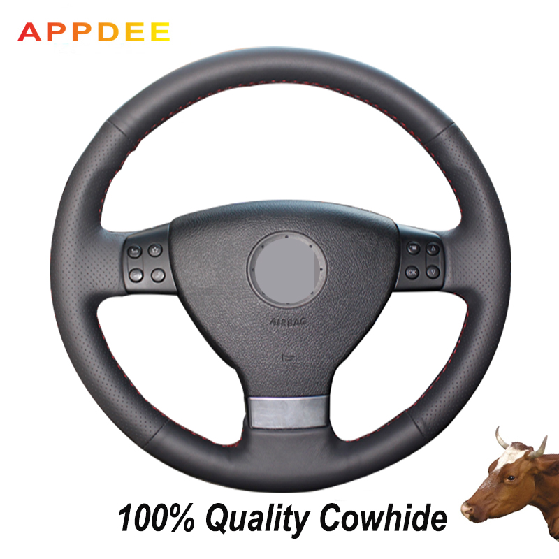 APPDEE Black Genuine Leather Car Steering <font><b>Wheel</b></font> <font><b>Cover</b></font> for Volkswagen Golf 5 Mk5 VW <font><b>Passat</b></font> <font><b>B6</b></font> Jetta 5 Mk5 Tiguan 2007-2011 image