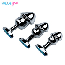 3 pieces/set of stainless steel anal plug crystal jewelry round butt plug stimulating sex toy dildo anal plug