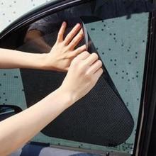 Sticker Protector Heat-Shield Car-Side-Window Sunshade Adhesive Black for Uv-Ray 2-Pairs
