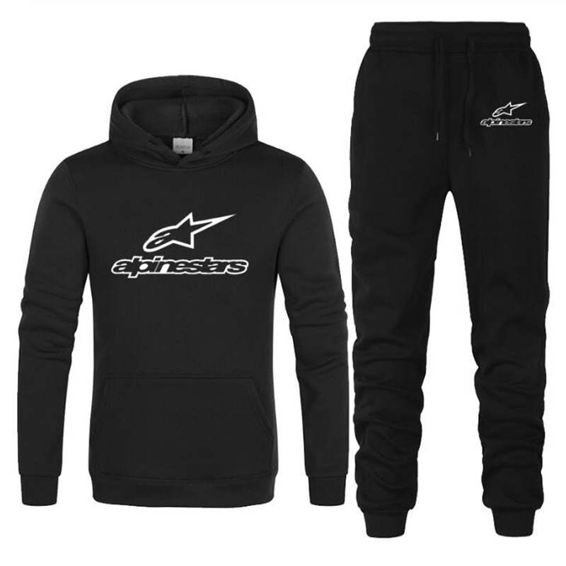 New ALPINESTARS Two Pieces Hoodie Hooded Men Casual Cotton Fall / Winter Warm Sweatshirts Men's Casual Tracksuit Costume S-XXXL