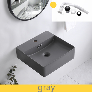 Matte Grey Wash Hand Basins Wall-hung Wash Basin Simple Ceramic Hanging Basin Integrated Basin Bathroom Sink Bowls
