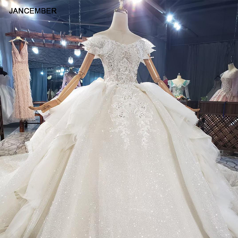 HTL1839 Luxurious Sequined Beading Crystal Pearls Wedding Dress 2020 V-Neck Short Sleeve Ball Gowns 1