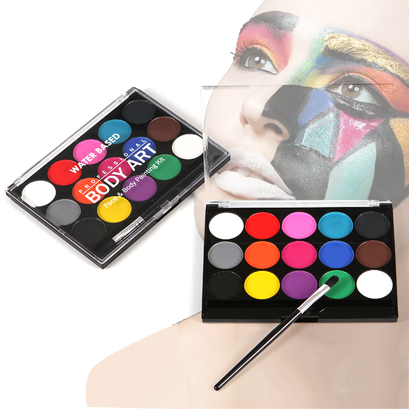 15Colors Professional Face&body Art Painting Kit Non Toxic Water Paint Oil With Brush For Christmas Halloween Carnival Party Art