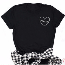 Mom Heart T Shirt Women Casual Love Mama Hipster Tops Tee Ha