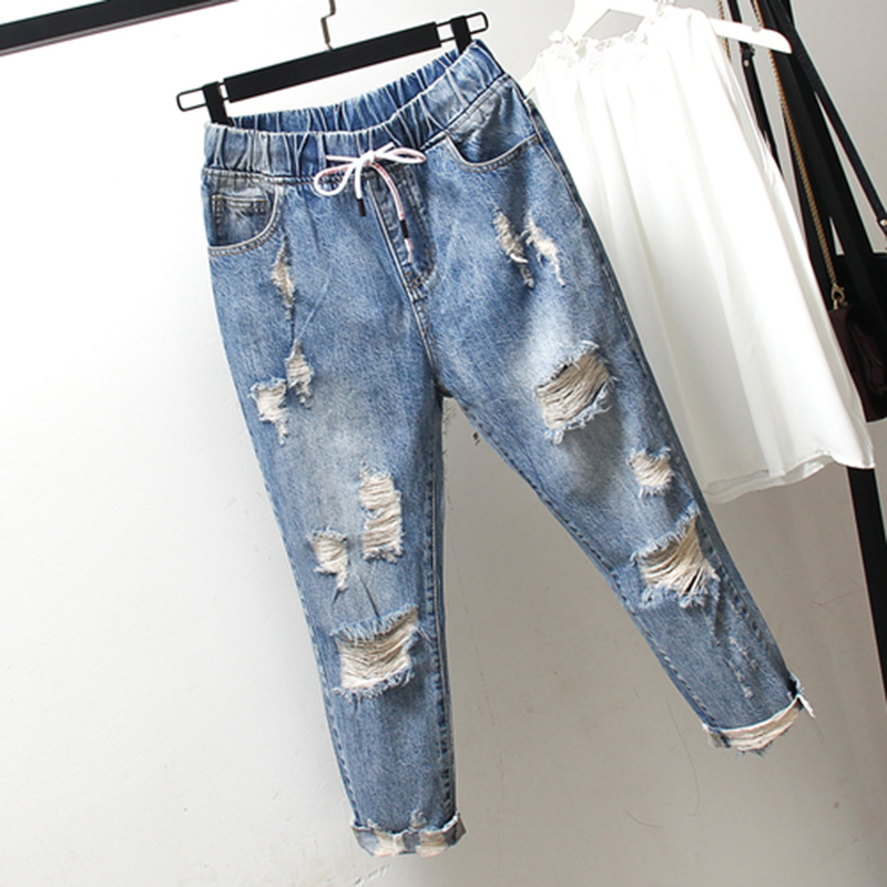 Summer New Korea Fashion Women Ripped Jeans Plus Size Elastic waist Vintage Loose Blue Jeans Casual Denim Harem Pants S510