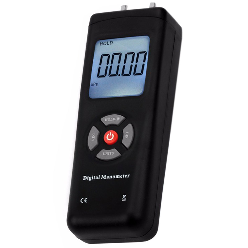 Manometer Digital Portable Handheld Air Vacuum Gas Pressure Gauge Meter With Backlight 11 Units +/- 13.78KPa +/- 2PSI