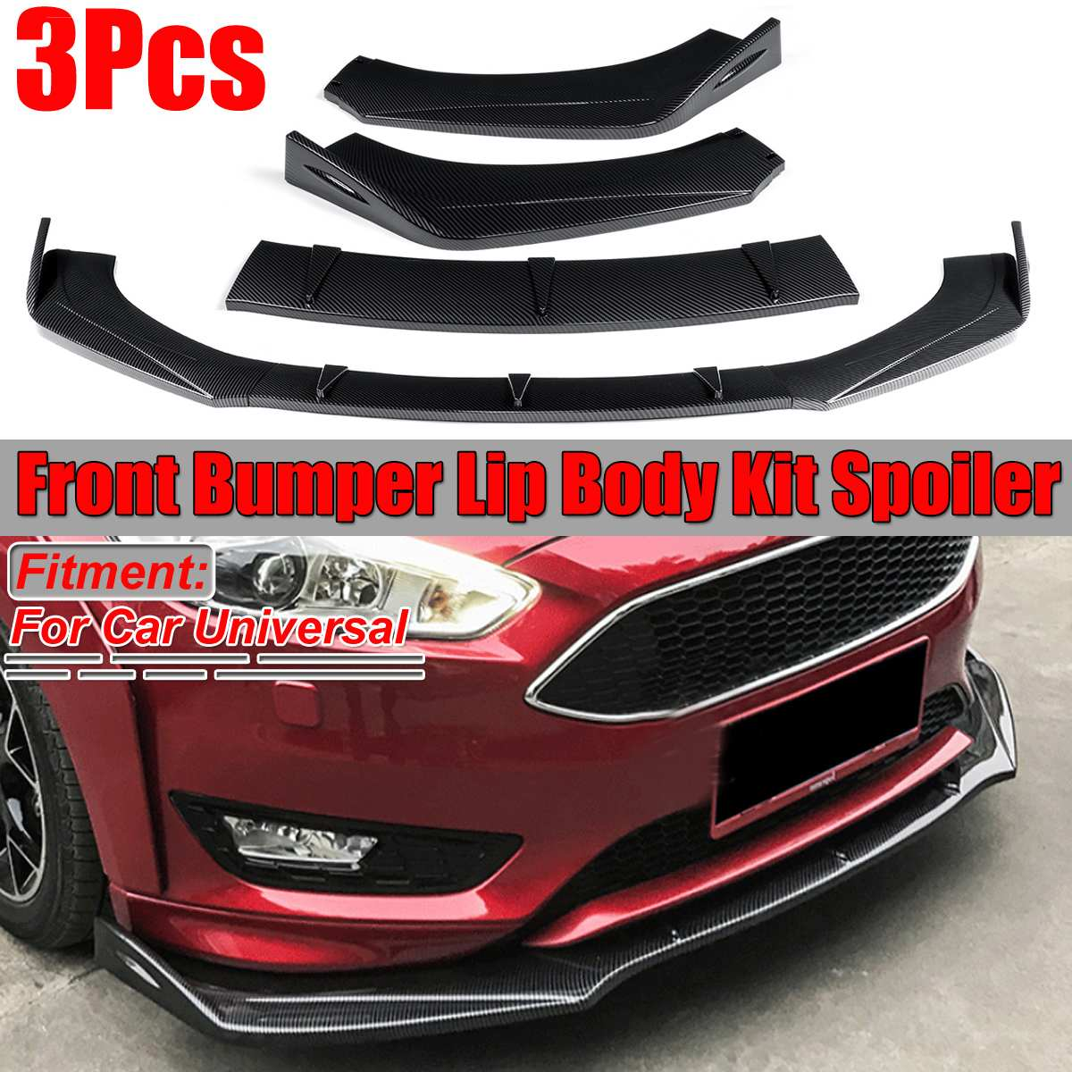 New Universal Car Front Bumper Lip Splitter <font><b>Body</b></font> <font><b>Kit</b></font> Spoiler Diffuser For Ford For BMW For Benz For <font><b>Audi</b></font> A5 Sline S5 <font><b>RS5</b></font> 09-16 image