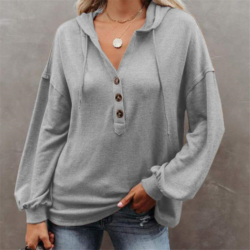 5XL Oversize Women Plus Size Hooded Sweatshirts Loose Pullovers Casual Button Hoodes Long Sleeve Solid Thin Autumn Tops 2020 New