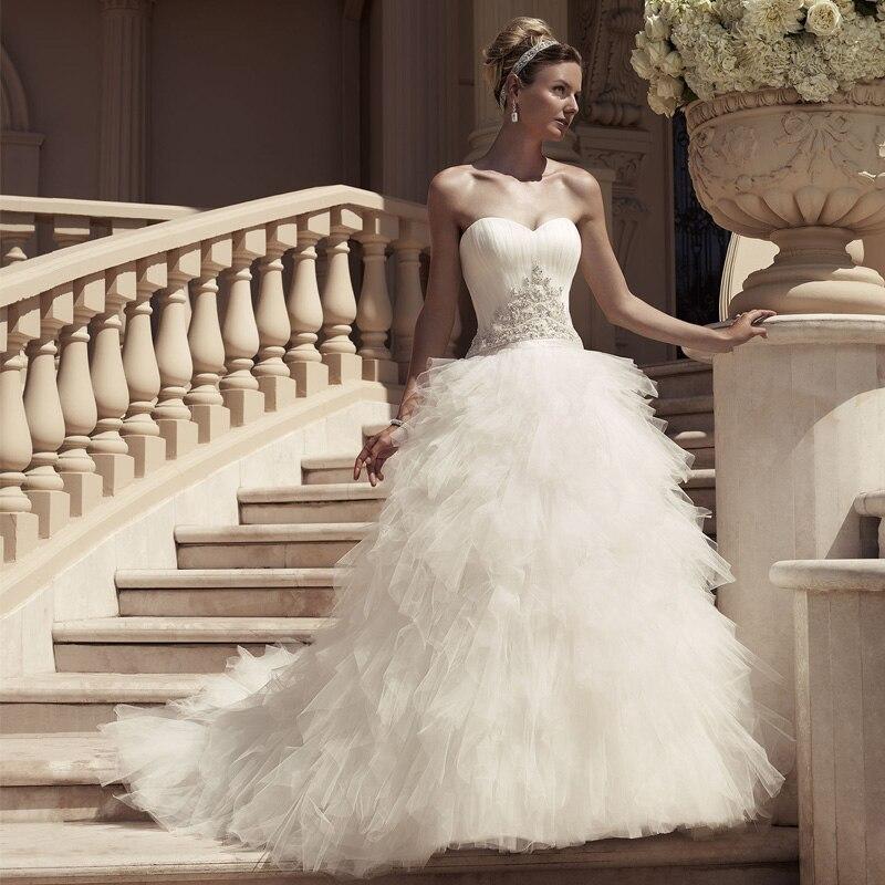 Princess Pleat Court Train Bridal Ball Gown Vestidos De Novia 2019 New Design Strapless Lace Appliques Wedding Dress