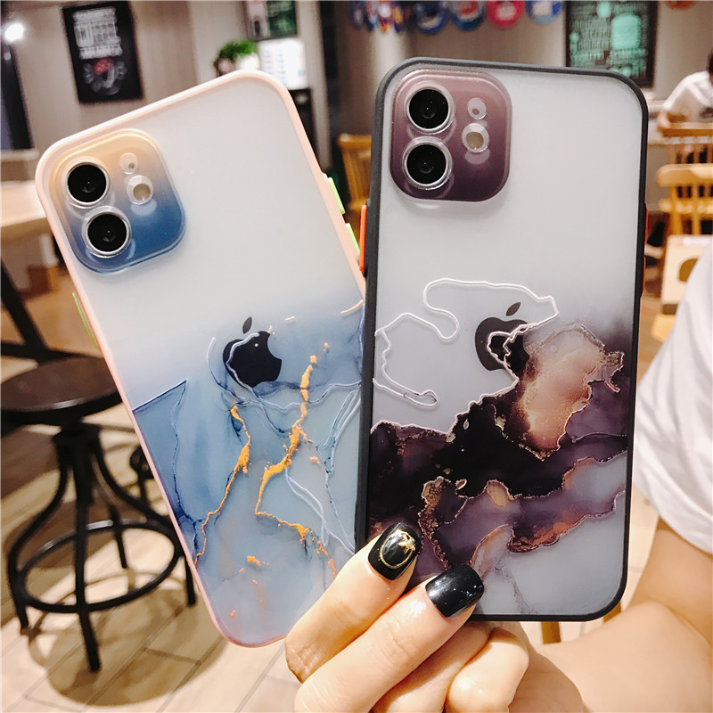Phone-case-Art Marble Pattern Transparent Case Cover For iPhone 12 Pro Max 7 8 Plus 11 XS Max XR X SE Colorful Shockproof shell