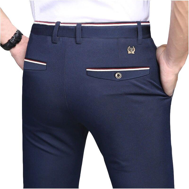2019 Suit Pants Fashion Elegant Mens Dress Pants Solid Color Straight Long Trousers Men's Slim Fit Formal Trousers Black