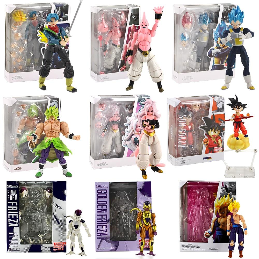 SHF Dragon Ball Z Super Saiyan Piccolo Broly Freeza Kuririn Trunks Vegeta Buu Pvc Figure Figuras Brinquedos Son Goku Naruto Toys
