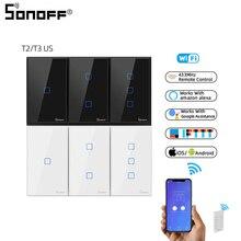 SONOFF TX T2/T3 USสีดำ1/2/3 Gang RF 433Mhzรีโมทคอนโทรลไร้สายWifi Touch Wall light Switchสมาร์ทแผงGoogle Home