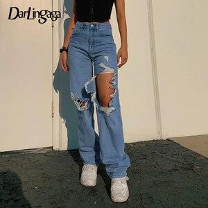 Darlingaga Streetwear Ripped Hole High Waist Jeans 2020 Women Pants Casual Straight Denim Vintage Y2K Jeans Capris Bottom Skinny