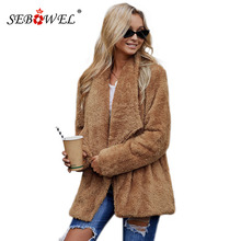 SEBOWEL Woman Long Sleeve Sherpa Fluffy Jacket Coats Faux Fur Female Pockets Warm Fluff Outwear Ladies Winter Clothes 2019 S-XXL