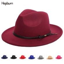Hepburn brand Jazz Hat Winter Autumn Imitation Woolen Women Men Ladies Fedoras casual hat Classical Wide Brim Felt Floppy