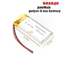 500mAH 3,7 V 602040 полимерный литий-ионный/литий-ионный аккумулятор для mp3 mp4 gps диктофона резервного питания ПК Смарт-часы