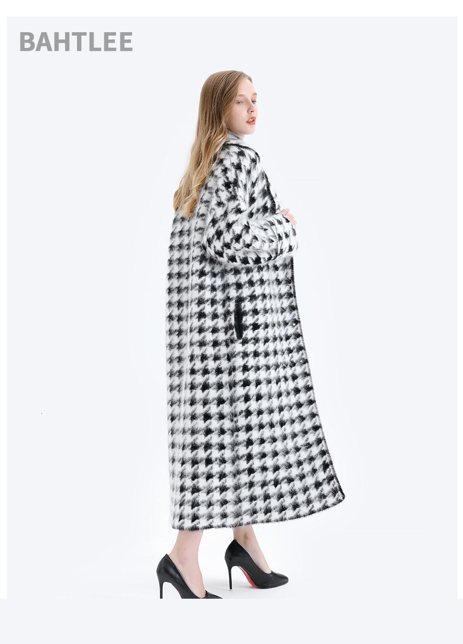 BAHTLEE Women Angora Long Coat Houndstooth Pattern Sweater Winter Wool Knitted Cardigans Jumper Turn Down Collar Long Sleeves 9