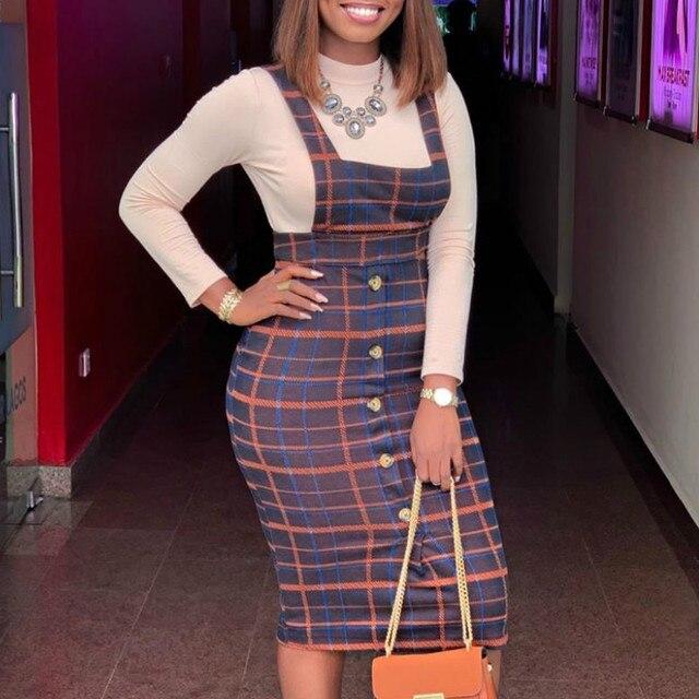 Женский комплект из 2 предметов, клетчатое платье на бретельках, облегающее платье с топом и пуговицами, скромная Офисная Женская одежда, классическая африканская мода, облегающая женская одеждаСпортивные костюмы    АлиЭкспресс