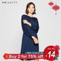 Me&City Elegant Lysell Simple Silk dress women Spaghetti Office Lady horizontal neck dresses Elegant body