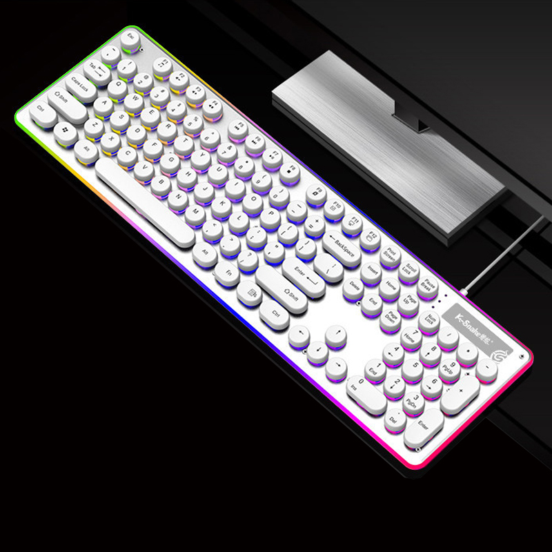 Waterproof Wired Keyboard Metal Panel Retro Punk Mechanical Feel Gaming Keyboard Rainbow Backlit And Edge illuminated Keyboards