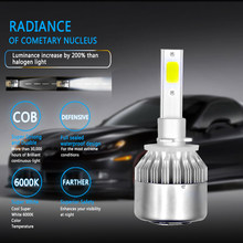 Mobil Panas-Styling 72W 7600LM COB C6 Lampu LED 36W 3800LM H1 H3 H4 H7 H8 H9 h11 9005 9006 9004 9007 H13 880 Mobil Lampu Depan Lampu(China)
