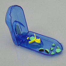 Dispositivo de corte prático, dispositivo de corte para idosos, dispositivo de remédio azul transparente, caixa de plástico integrado, divisor para tablet