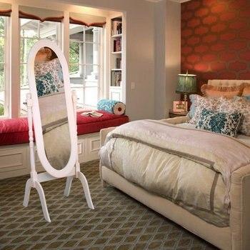 Деревянное напольное зеркало, овальное туалетное зеркало для спальни, гостиной, домашний декор