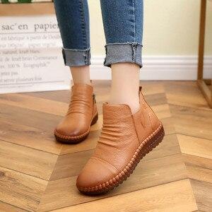 Image 5 - Dropshipping แฟชั่นฤดูใบไม้ร่วงแบนรองเท้าของแท้รองเท้าหนัง Vintage Casual รองเท้า Retro Handmade ผู้หญิง Boot