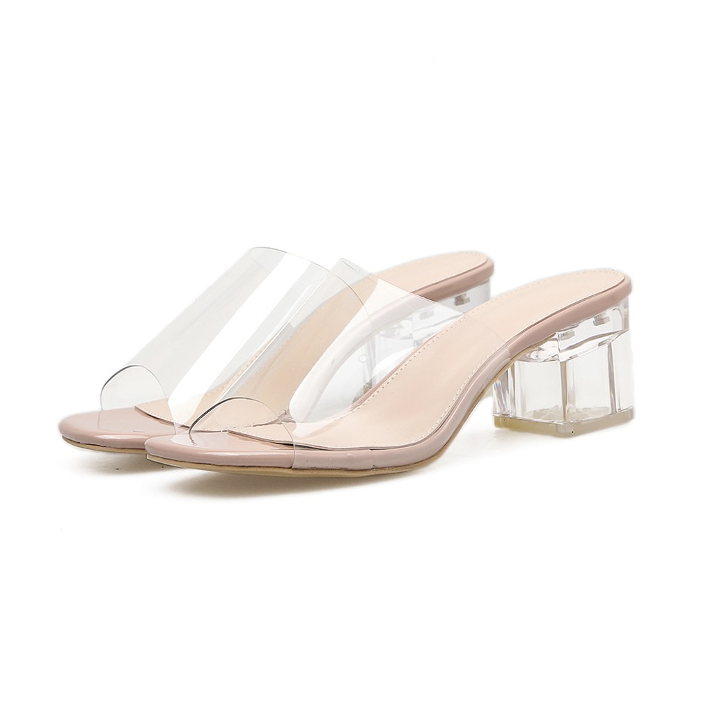 Fashion Square Heeled Buckle Strap PVC Transparent Zapatos Women Sandals 2019 New Lady Shoes Summer  May20
