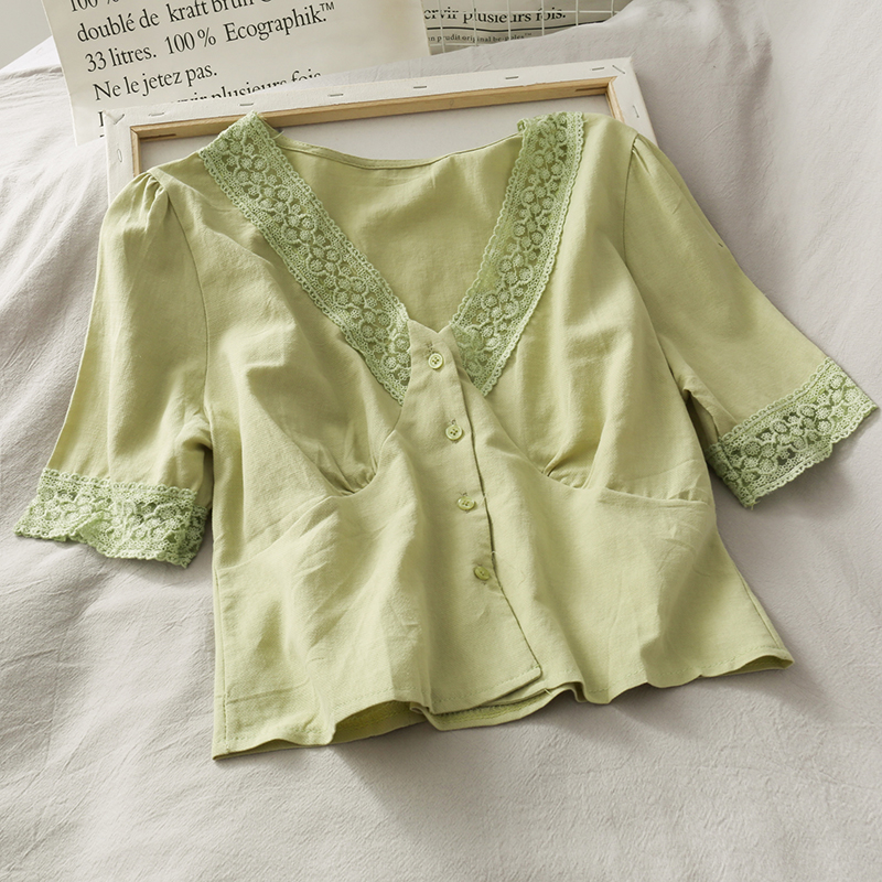 Summer Women Short Blouse V-neck Stitching Lace Short-Sleeved Slim Solid Color Shirt Ladies Sweet Brief Fashion Tops