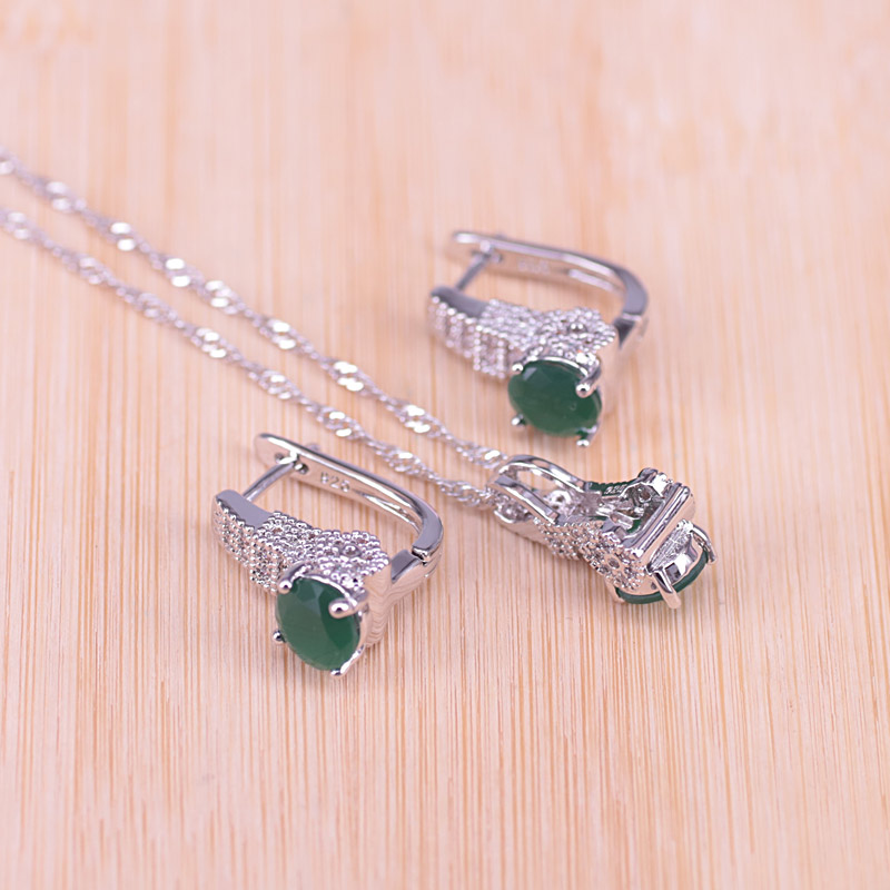 Risenj Russian Style Apple Green Stone with White Zircon Silver Color Jewelry Set For Women Earring Ring Necklace Set