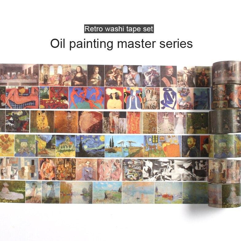 Vintage Van Gogh Washi Tape Set Masking Scrapbooking Decorative Stickers Bullet Journal Stationary Pastel Adhesive Stationery