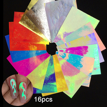 16pcs/lot Fire Flame Nail Holographic Strip Tape Art Stickers Thin Laser Gold Silver Stripe Sticker DIY Foil Decal