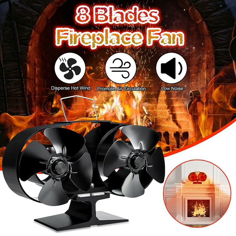 8 Blades Stove Fan Fireplace Fire Heat Powered Saving Eco Friendly Fireplace Fans Wood Log Burner Household Winter Warmer|Exhaust Fans|   - title=