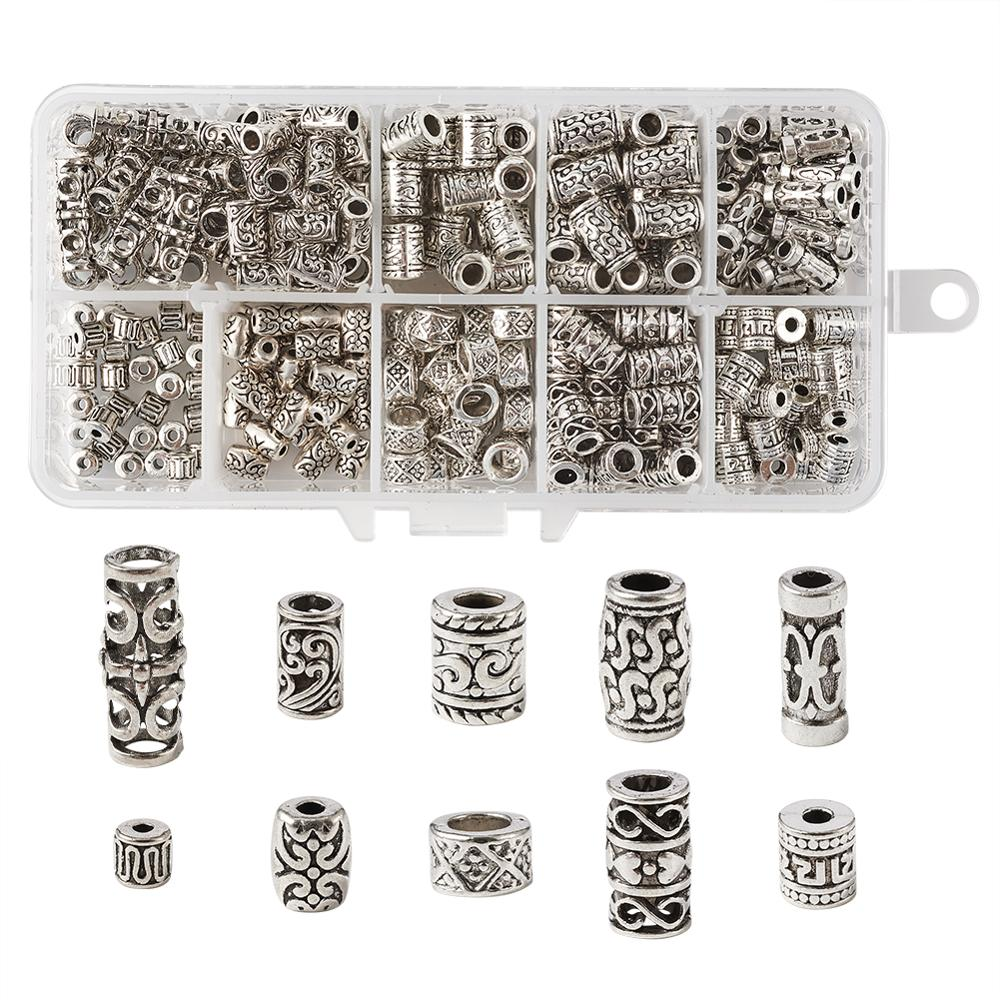 30 x ANTIQUE SILVER~ROUND//TUBE~TIBETAN STYLE~SPACER BEADS 9 x 7 MM,HOLE~4.8 MM