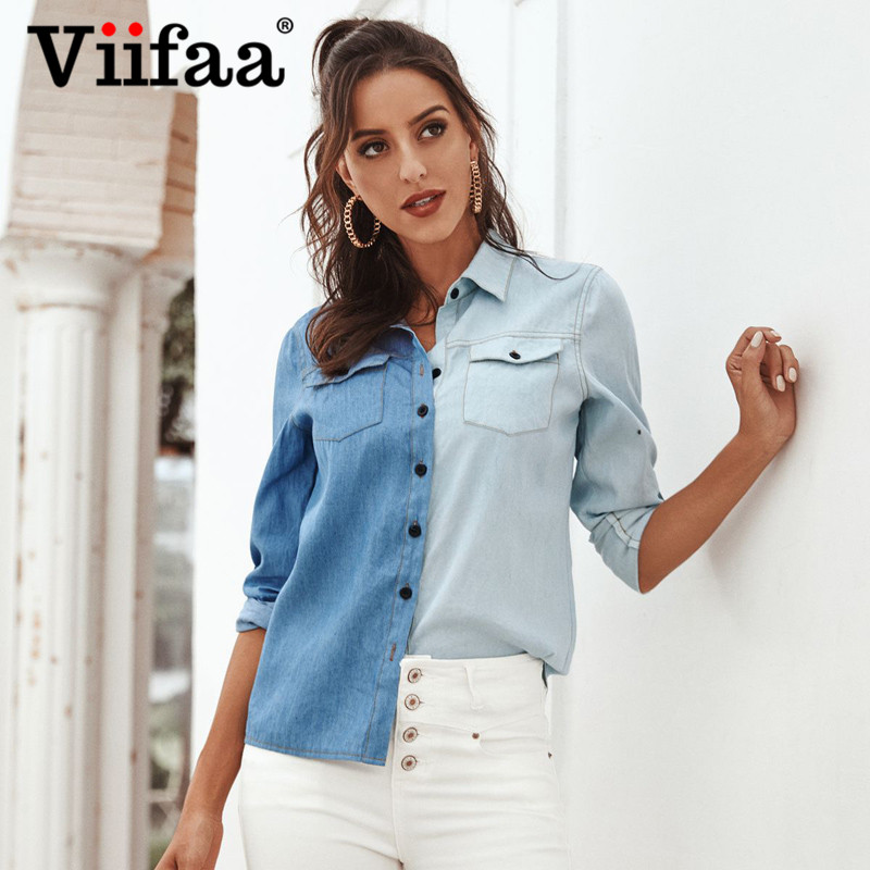 Viifaa Light And Dark Color Two Tone Roll Up Long Sleeve Denim Shirt Women Pocket Front Autumn Elegant Office Tops And Blouses