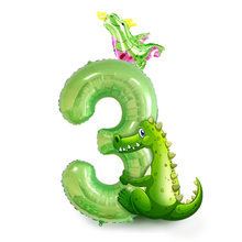 40 Inch Fruit Green Large Digital Aluminum Film Balloon Tyrannosaurus Rex 16 Inch Dinosaur Combination Set Balloon 098